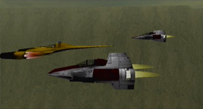 Naboo starfighter flying alongside A-wings in Star Wars: Rogue Squadron for Nintendo 64
