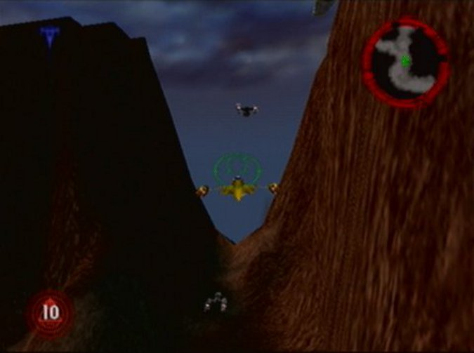 Naboo starfighter in the mission Assault on Kile II in Star Wars: Rogue Squadron