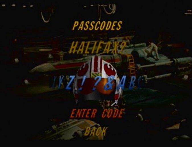 "Star Wars: Rogue Squadron Naboo starfighter ""HALIFAX?"" cheat code"