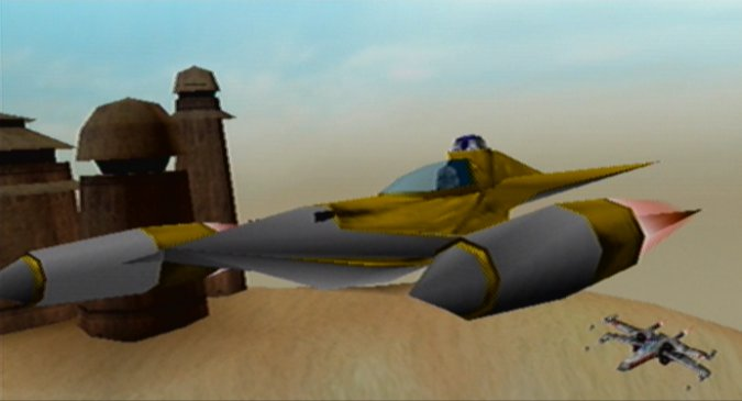 Rogue Squadron Naboo starfighter flying over Tatooine (N64)