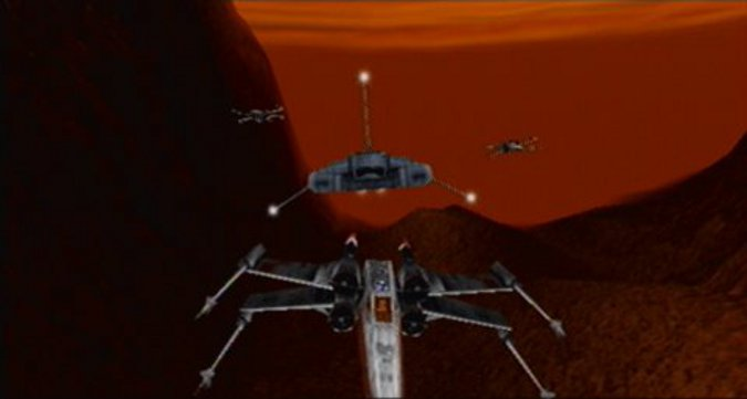 Prisons of Kessel mission intro cutscene in Star Wars: Rogue Squadron for N64