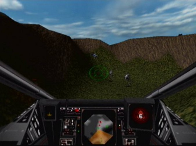 Cockpit view of an X-wing starfighter in Star Wars: Rogue Squadron for N64