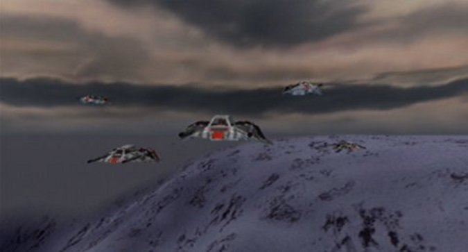 Snowspeeders flying in formation over Fest in Star Wars: Rogue Squadron for N64