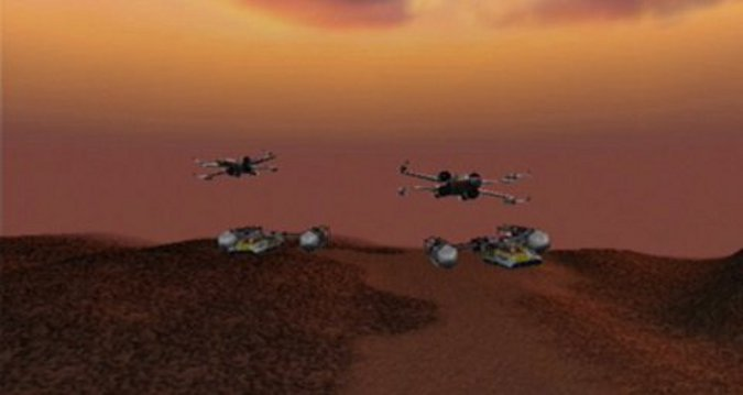 X-wings and Y-wings flying in formation in Star Wars: Rogue Squadron's Liberation of Gerrard V mission