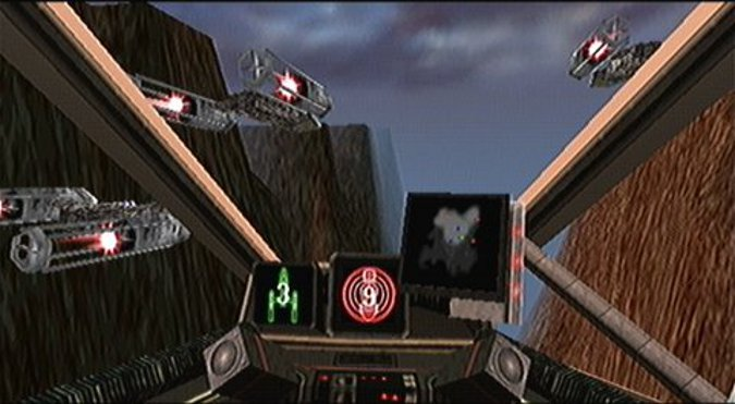 View from a Y-wing cockpit in Star Wars: Rogue Squadron's Assault on Kile II mission (N64 version)