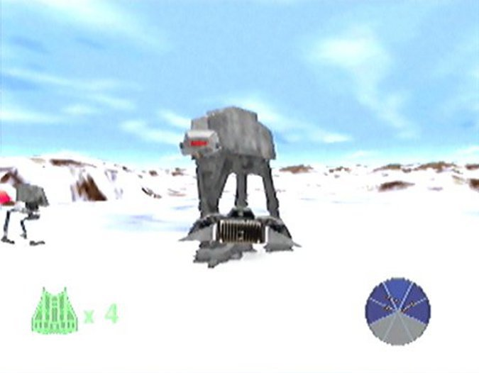 Battle of Hoth stage in Star Wars: Shadows of the Empire for N64