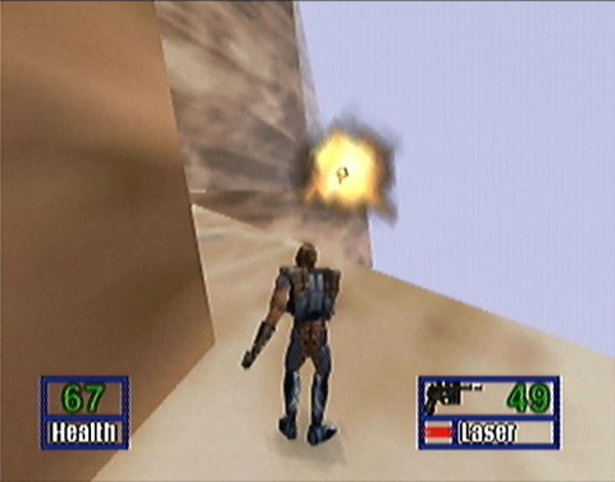 Shooting a probe droid on Shadows of the Empire's Gall Spaceport stage (N64 version)