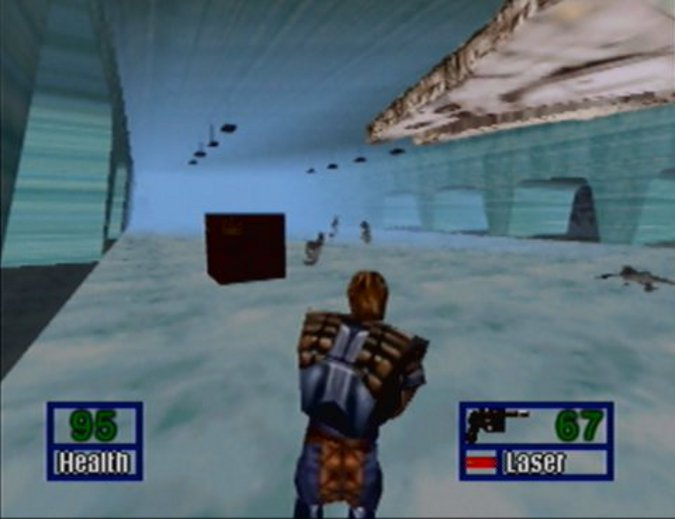 Dash Rendar fighting his way through the Echo Base hangar in Star Wars: Shadows of the Empire for Nintendo 64