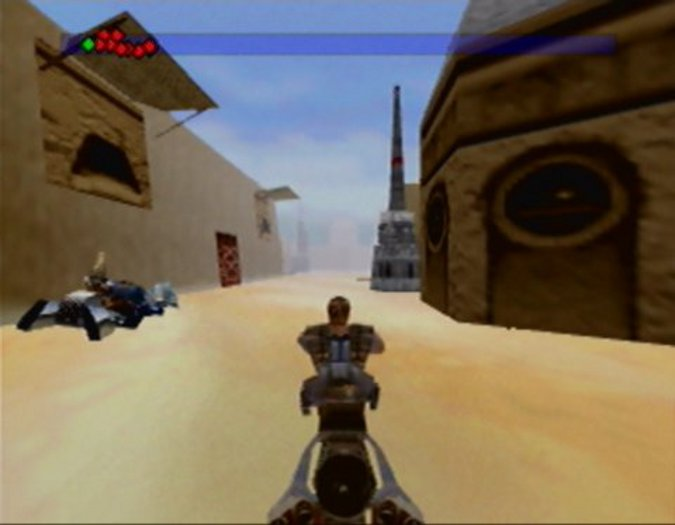 Speeder bike chase through Mos Eisley in Star Wars: Shadows of the Empire for N64.