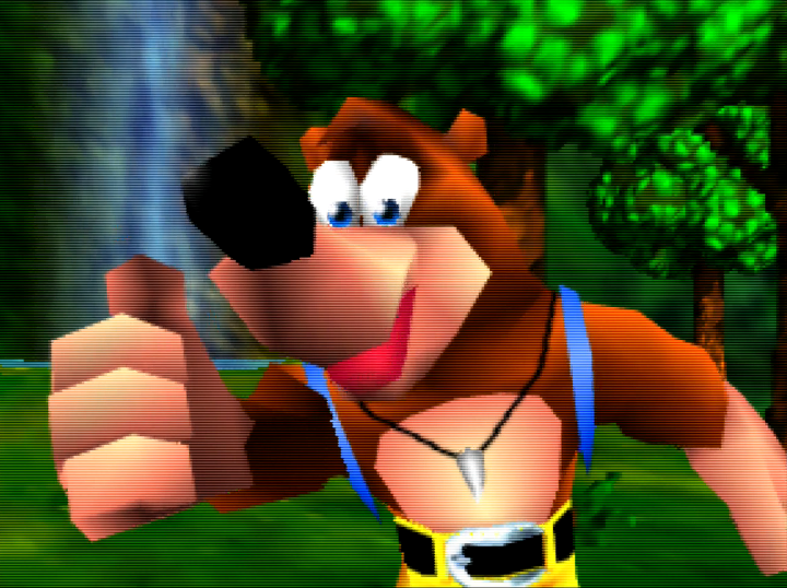 Banjo from Banjo-Kazooie (N64) giving a thumbs up in the game's musical intro