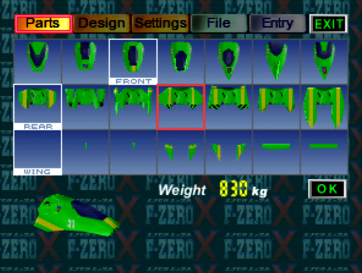 Create Machine Parts menu in F-Zero X Expansion Kit for 64DD