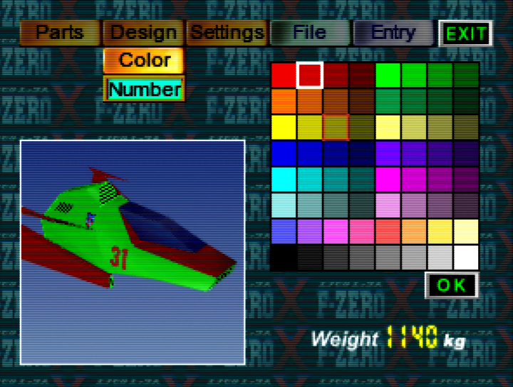Create Machine menu in F-Zero X Expansion Kit for N64.