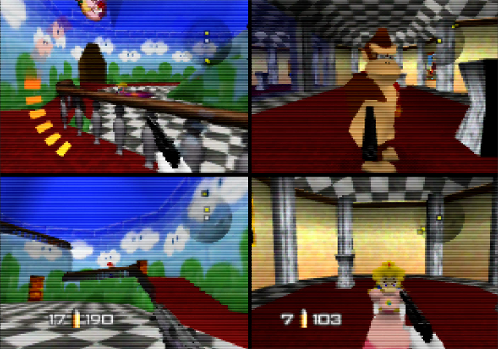 A multiplayer deathmatch in Princess Peach's Castle in GoldenEye with Mario characters mod for N64