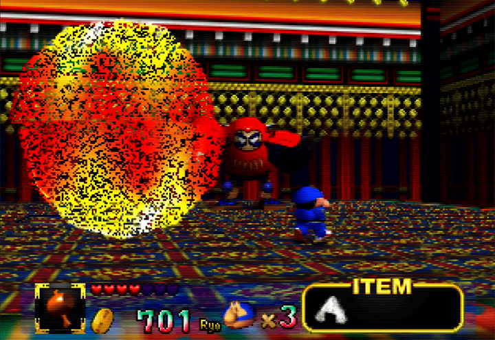 Dharmanyo boss fight in Mystical Ninja Starring Goemon for N64