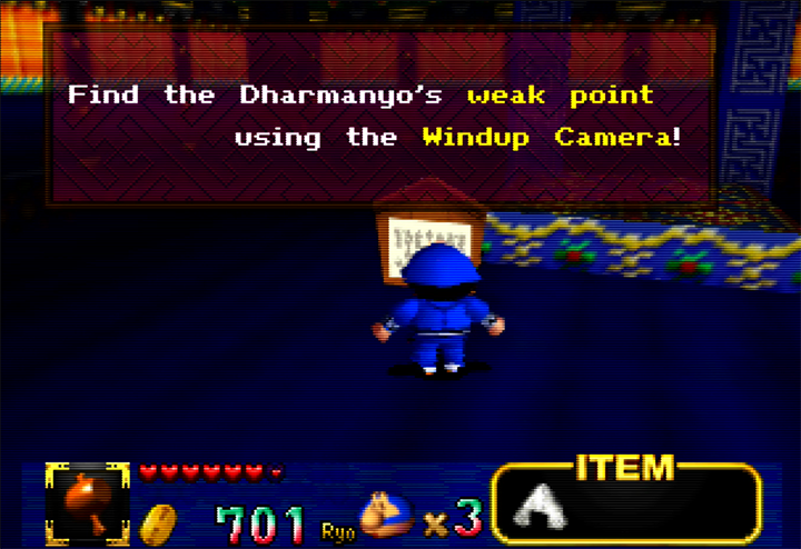 In-game hint in Mystical Ninja Starring Goemon for Nintendo 64