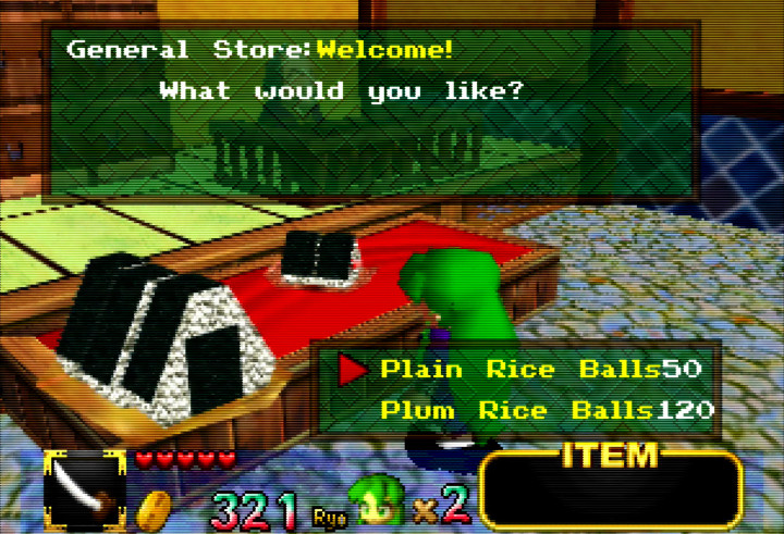 Purchasing rice balls from the general store in Mystical Ninja Starring Goemon for N64