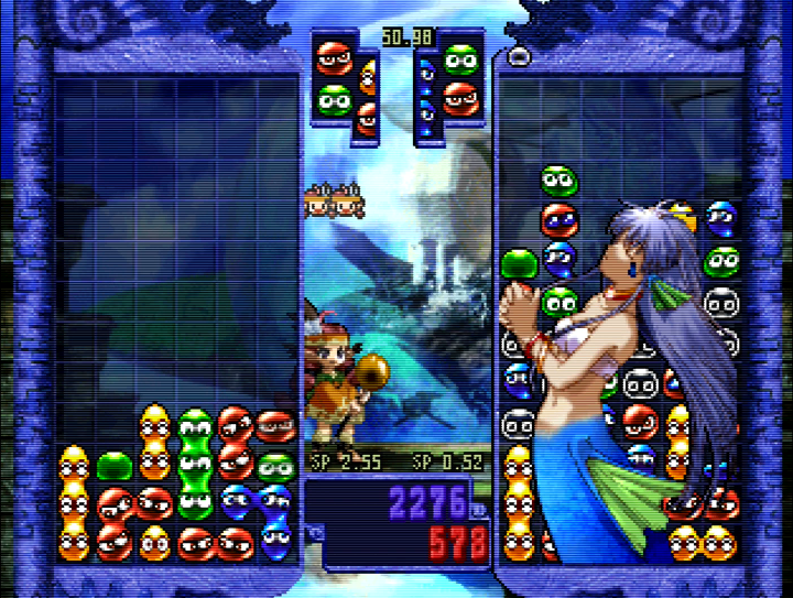 a two-player match in Puyo Puyo~n Party for the N64