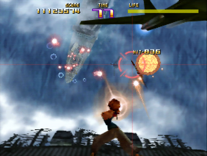 Airan battling the Armed Volunteers in Sin & Punishment's excellent aircraft carrier stage