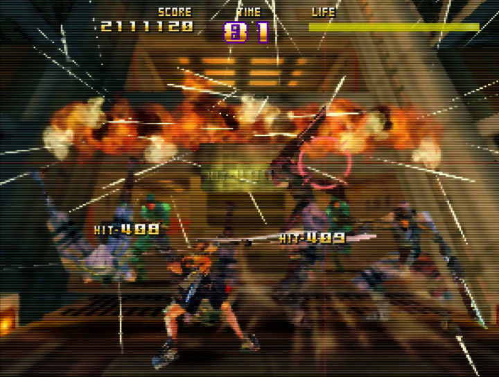 Saki slashes enemies with his melee attack while travelling on a lift in Sin & Punishment for N64