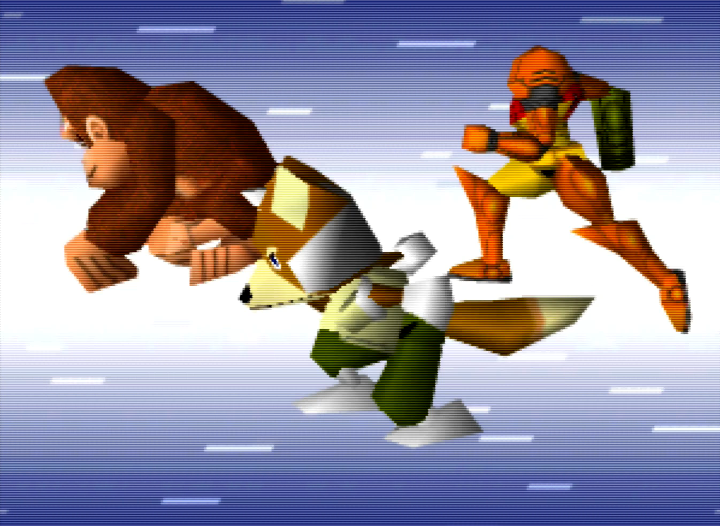 DK, Fox and Samus dashing in the Super Smash Bros. intro on N64.