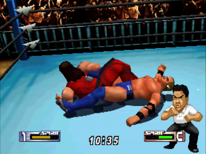 Pinning someone with a leg lock in Virtual Pro Wrestling 2: Ōdō Keishō for N64