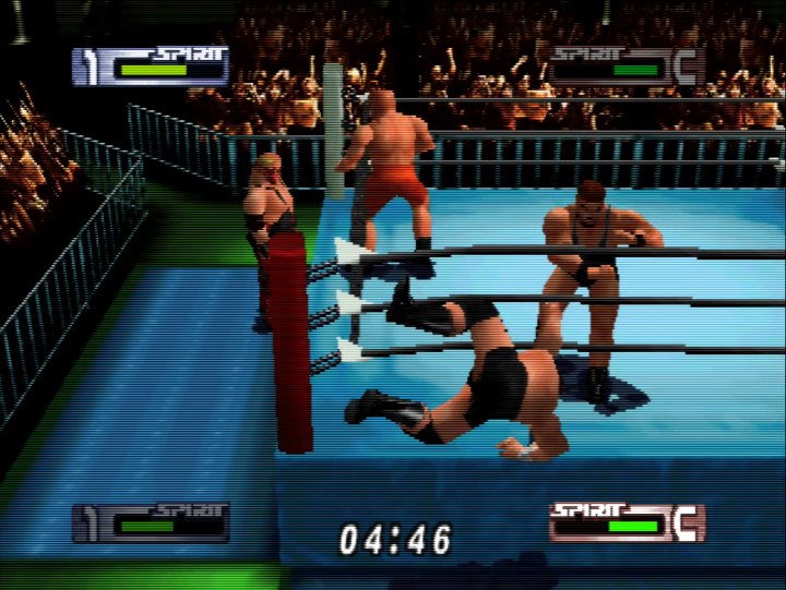 2vs2 tag match in Virtual Pro Wrestling 2: Ōdō Keishō - one of the best Japanese N64 games.