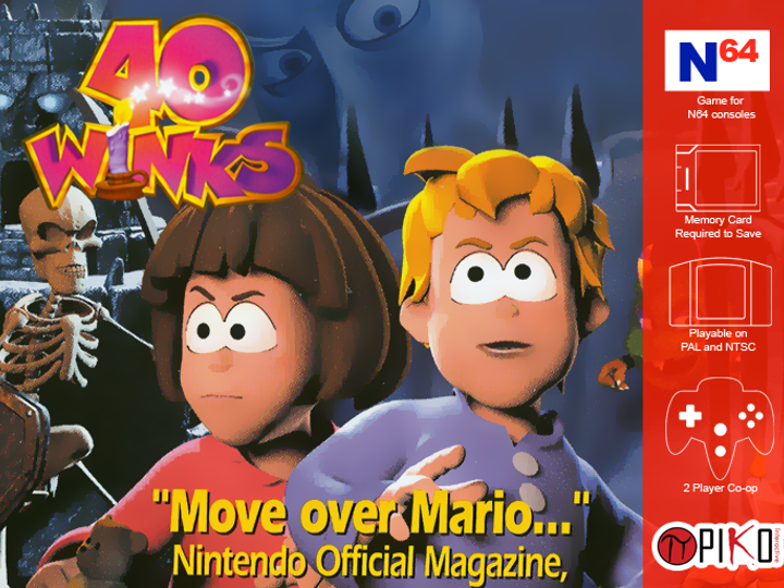 40 Winks N64 box art from 40 Winks Kickstarter by Piko Interactive