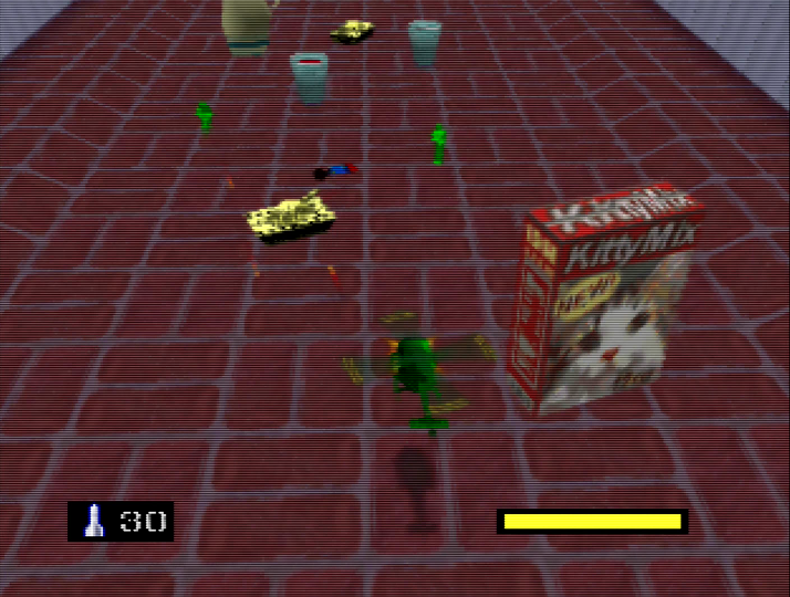 Navigating a back garden full of Tan units - Army Men: Air Combat review header (N64)