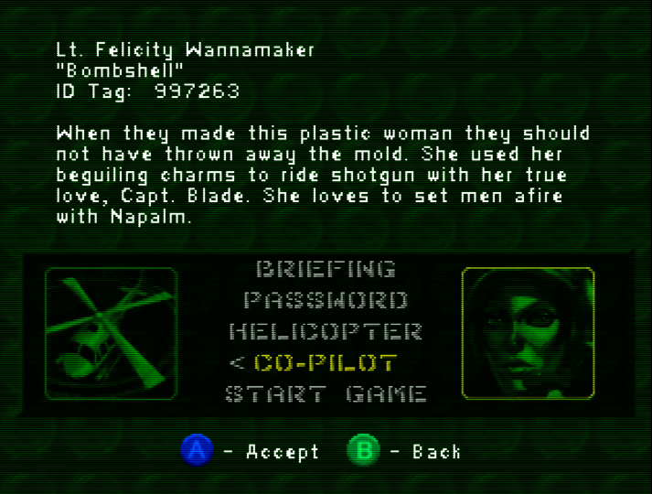 Stereotypical character profile for Lt. Felicity Wannamaker in Army Men: Air Combat for N64