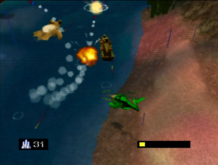 Escorting a teddy bear downstream in Army Men: Air Combat for N64