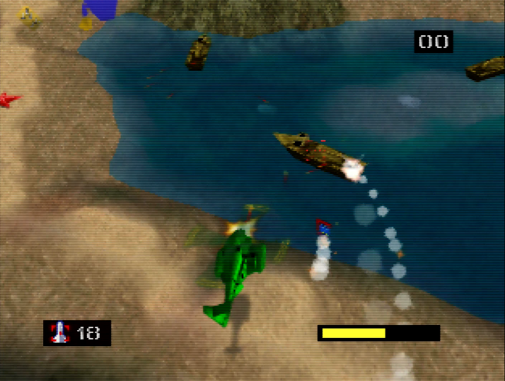 Engaging Tan gunboats in Army Men: Air Combat's ninth mission (Nintendo 64 version)