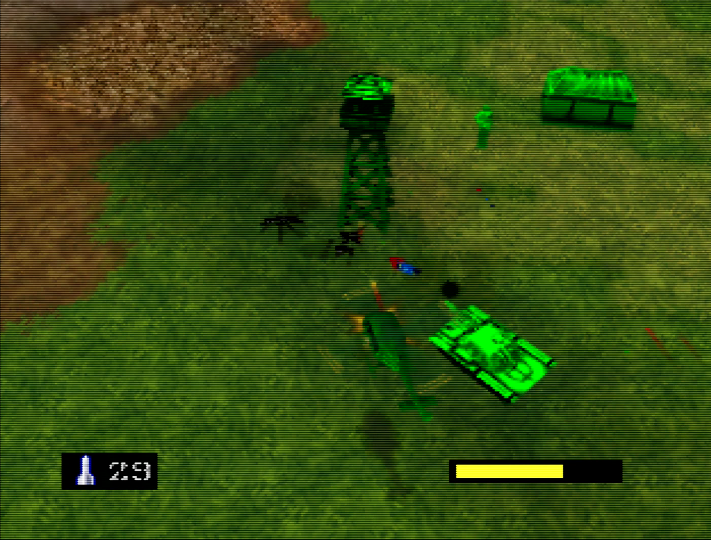 Killer ants attack green base in Army Men: Air Combat for N64