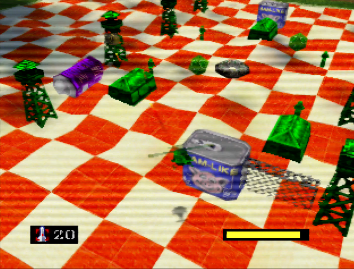 Green base on the picnic blanket in Army Men: Air Combat for N64
