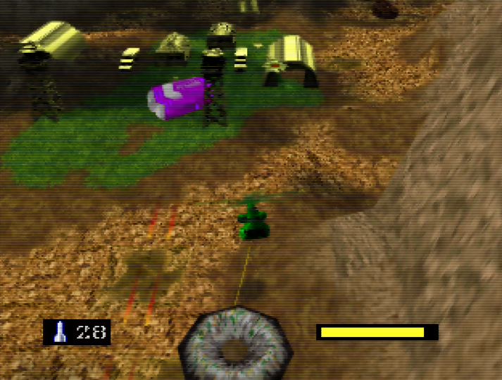 Carrying a doughnut towards an enemy Tan base in Army Men: Air Combat for N64