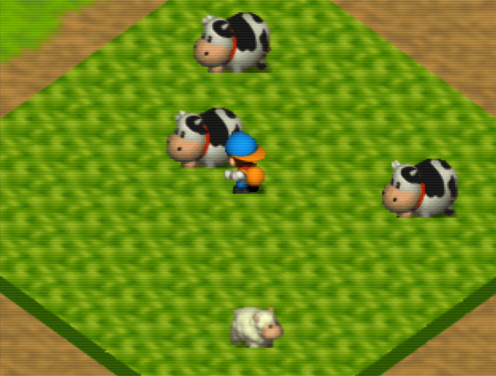 Milking a cow in Harvest Moon 64 for Nintendo 64