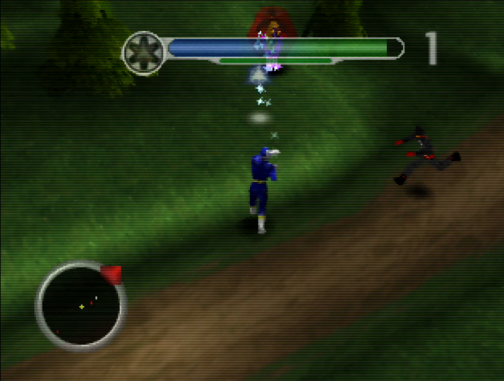Blue Ranger firing projectiles at enemy spawner in Power Rangers Lightspeed Rescue