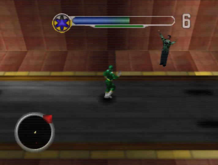 Green Ranger saving a civilian in Power Rangers Lightspeed Rescue on N64
