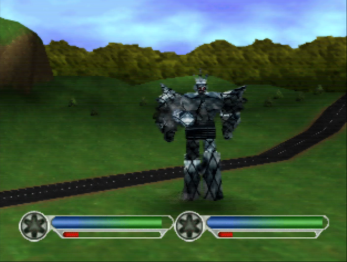 Megazord battle in Power Rangers Lightspeed Rescue for Nintendo 64