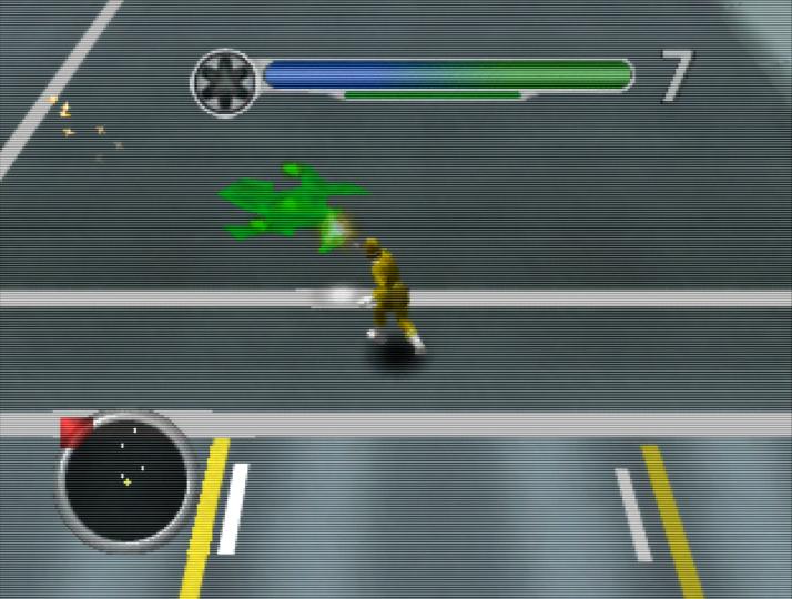 Yellow Ranger fights slime in Power Rangers Lightspeed Rescue for N64