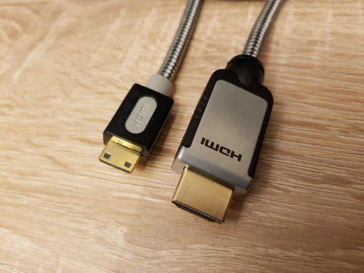Mini-HDMI to HDMI cable, as used by the UltraHDMI N64 mod