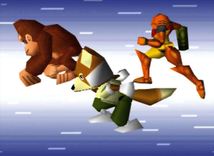 DK, Fox and Samus dashing in the Super Smash Bros. intro on N64.