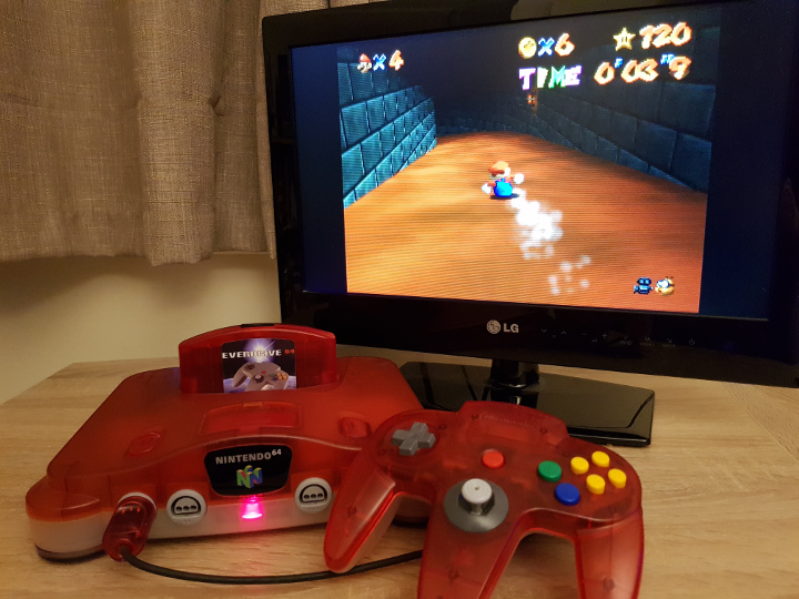 UltraHDMI N64 console connected to HDTV