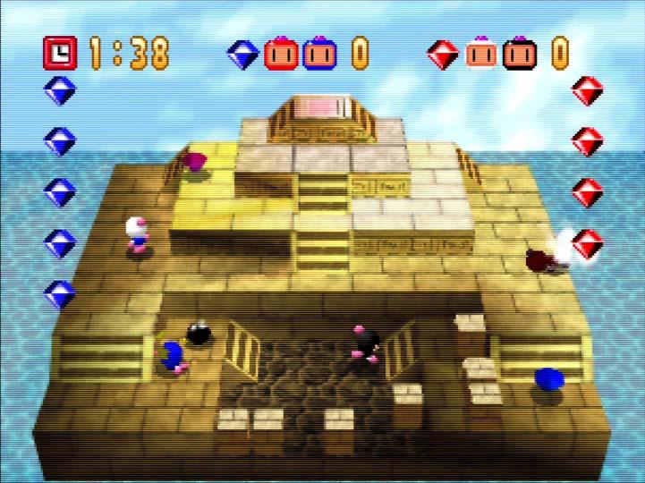 Bomberman 64 two-player coop team battle versus CPU opponents