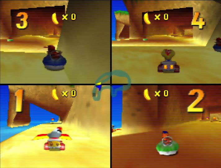 Diddy Kong Racing - four player splitscreen race