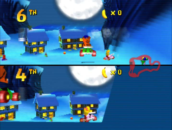 Diddy Kong Racing coop mode using the JOINTVENTURE magic code on Nintendo 64.