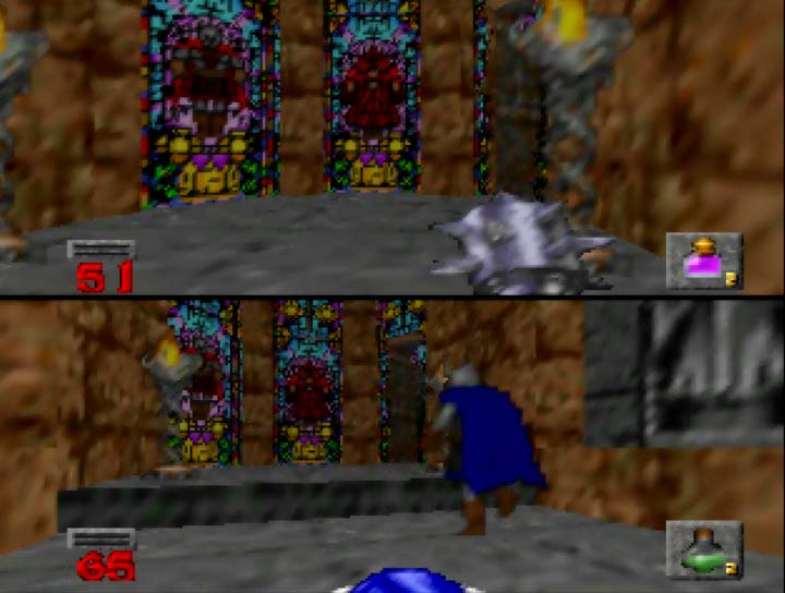 Hexen two-player splitscreen coop story mode on Nintendo 64