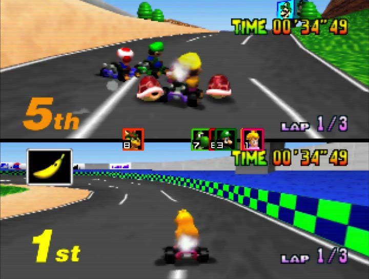 Mario Kart 64 two-player Grand Prix mode on Nintendo 64