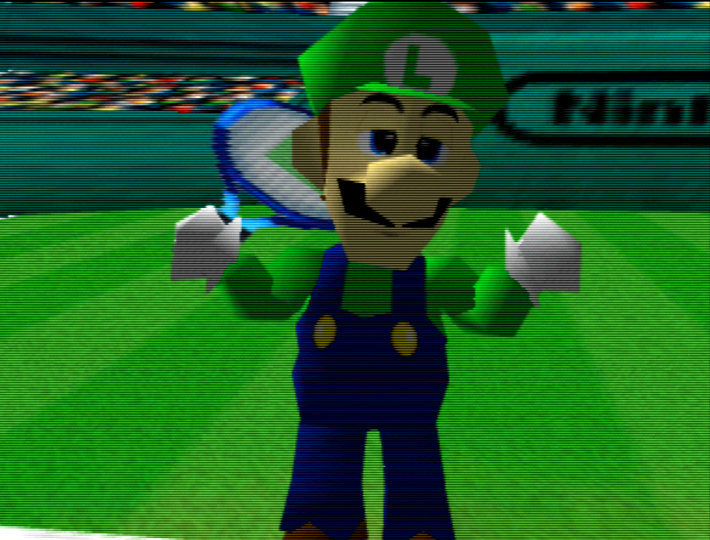 Luigi in the Mario Tennis opening, running on an UltraHDMI N64