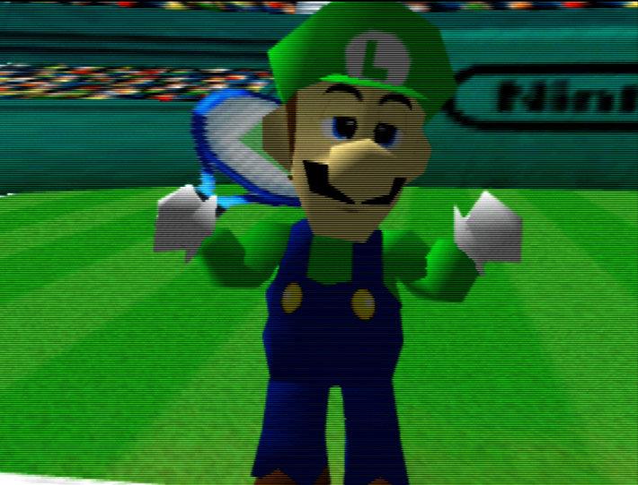 Luigi in the Mario Tennis opening, running on an UltraHDMI N64