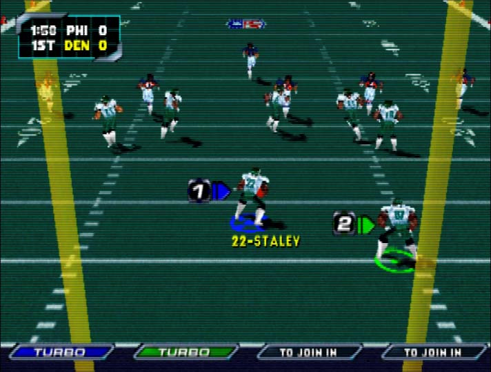 Playing a two-player game against the AI in NFL Blitz 2000 for N64